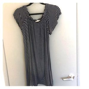 Striped dress with elastic on top